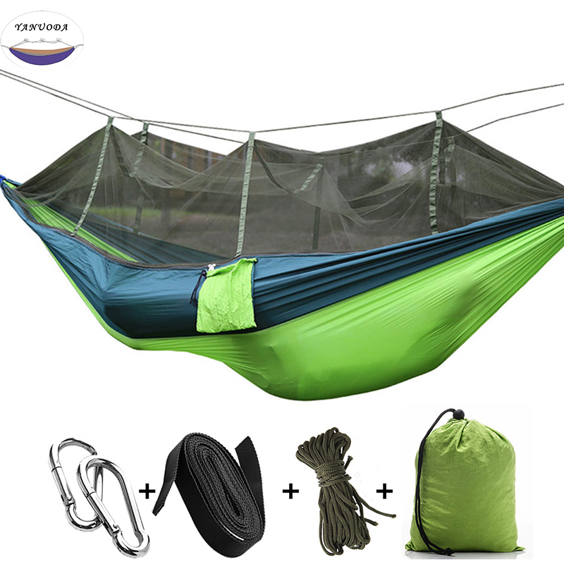 High Strength Double Person Folding Hammock With Mosquito Net Portable Camping Furniture Outdoor Travel Kits Stit Mixed Colors