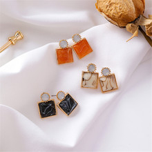 Korean Geometric Square Marbel Vintage INS Simple Acrylic 2019 Summer Woman Girl Stud Earrings Fashion Jewelry Holiday-MSE