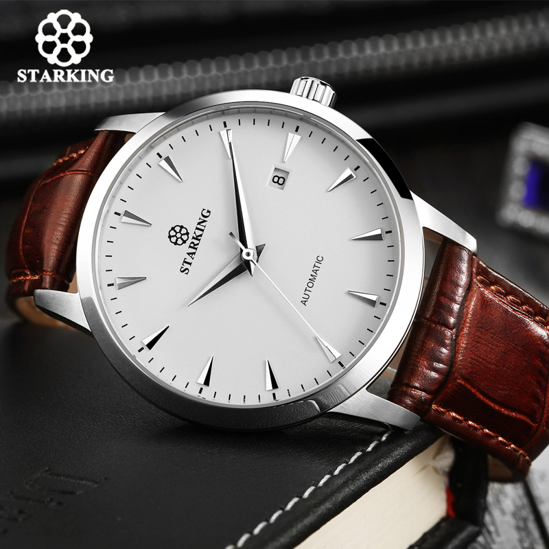 STARKING Automatic Watches Men Stainless Steel Business Wristwatch Leather Fashion 50M Waterproof Male Clock Relogio Masculino-in Mechanical Watches from Watches