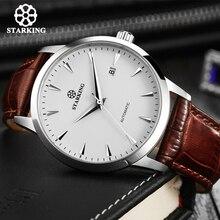 Часы наручные STARKING Мужские автоматические, деловые модные водонепроницаемые до 50 м с кожаным ремешком, из нержавеющей стали