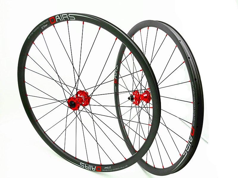 DAIRS 29er xc 27mm carbone VTT roues 29er VTT roues QR 100x9mm 135x9mm rouge moyeux Vtt vélo VTT roues 1420 UD mat
