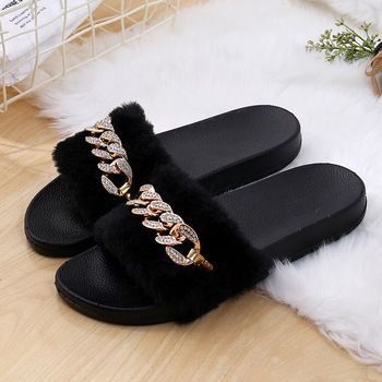 STONE VILLAGE 2019 New Women Slippers rhinestone Chain Fur Slippers Shoes solid Slip on flat Fur Fluffy Sliders shoes woman 2