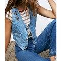 2016 calças de Brim Verão Curto Colete Sem Mangas Mulheres Jaqueta Bolso Botão Moda Colete Feminino Das Mulheres Veste Jaqueta ow0199
