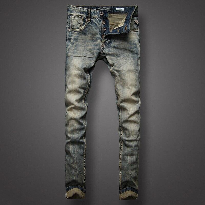 d37d9f23b8de0 Style italien rétro Design hommes Jeans Slim Fit Denim boutons pantalon  marque Jeans haute qualité mode