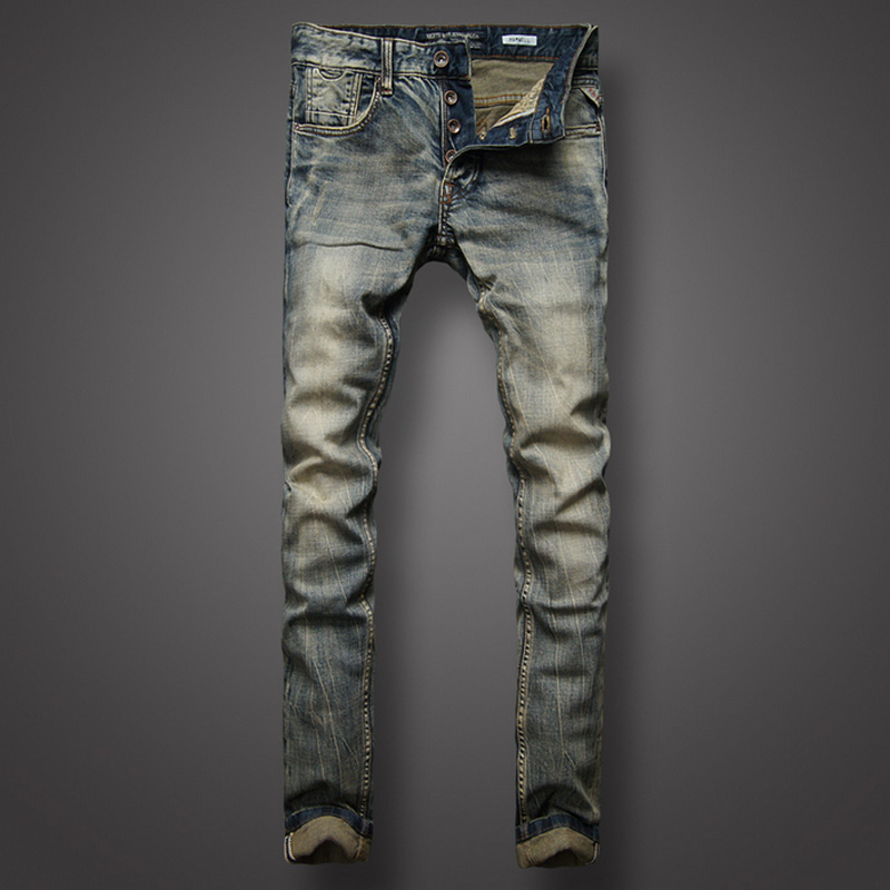 Italian Style Retro Design Mens Jeans Slim Fit Denim Buttons Pants Brand Jeans High Quality Fashion Streetwear Classic Jeans Men classic mid stripe men s buttons jeans ripped slim fit denim pants male high quality vintage brand clothing moto jeans men rl617