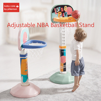 Children Mini NBA Basketball Stand Adjustable Kids Hanging Backboard Kit Portable Outdoor Sports Basketball Hoop Board with Pump