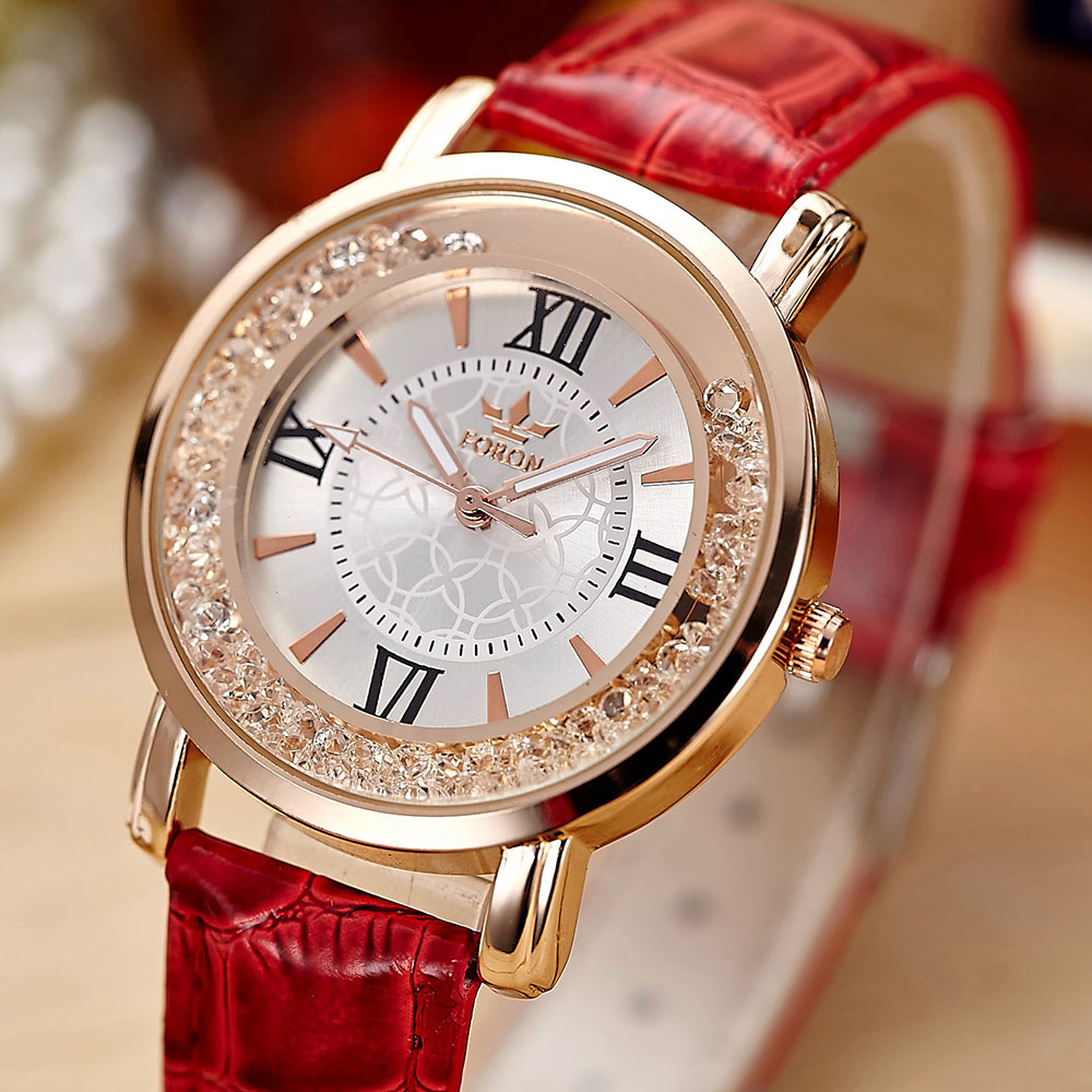 Top Brand Foron Women Crystal Dress Watches Rhinestone Rose Gold Saat Genuine Leather Strap Watch Elegant Simple Ladies Clock cartoon gold horse print blue leather strap sports ladies quartz watch relojes hombre 2017 bayan saat women watches hodinky b133