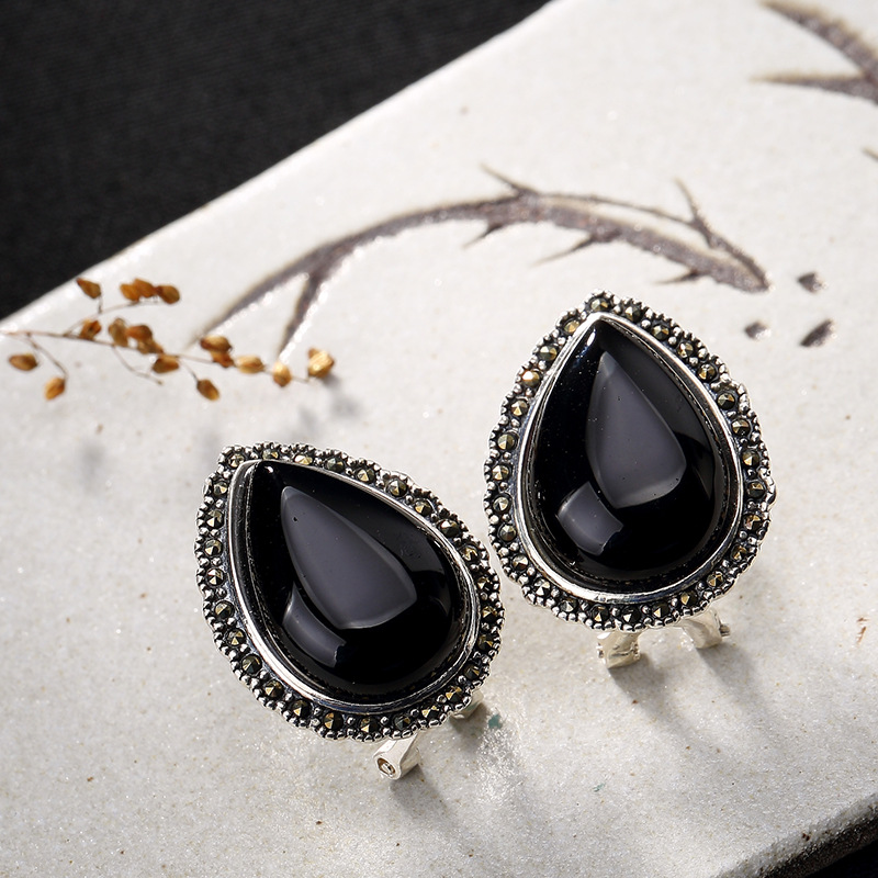 Silver Retro Black Agate Chalcedony Teardrop-shaped Thai Silver Ms High-end Stud Earring ...