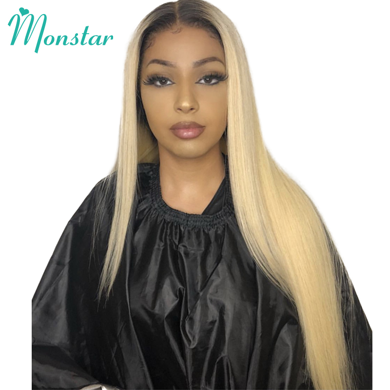 Monstar 150% Density Brazilian Straight Human Hair Wig 2 Tone Dark Roots 1B 613 Ombre Honey Blonde Lace Front Wig With Baby Hair