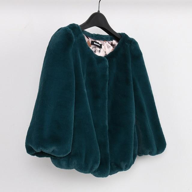 Imitation fur coat female short paragraph was thin round neck imitation rabbit hair jacket female spring and autumn models