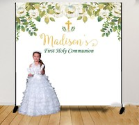 Custom First Communion Greenery And White Floral Baptism background Computer print party photo backdrop
