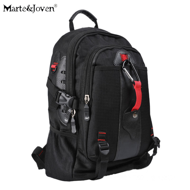 Marte Joven Men s Black Travel Backpack Bag Multi Pocket Design Oxford  Waterproof Best Carry on Trekking Rucksack for Male