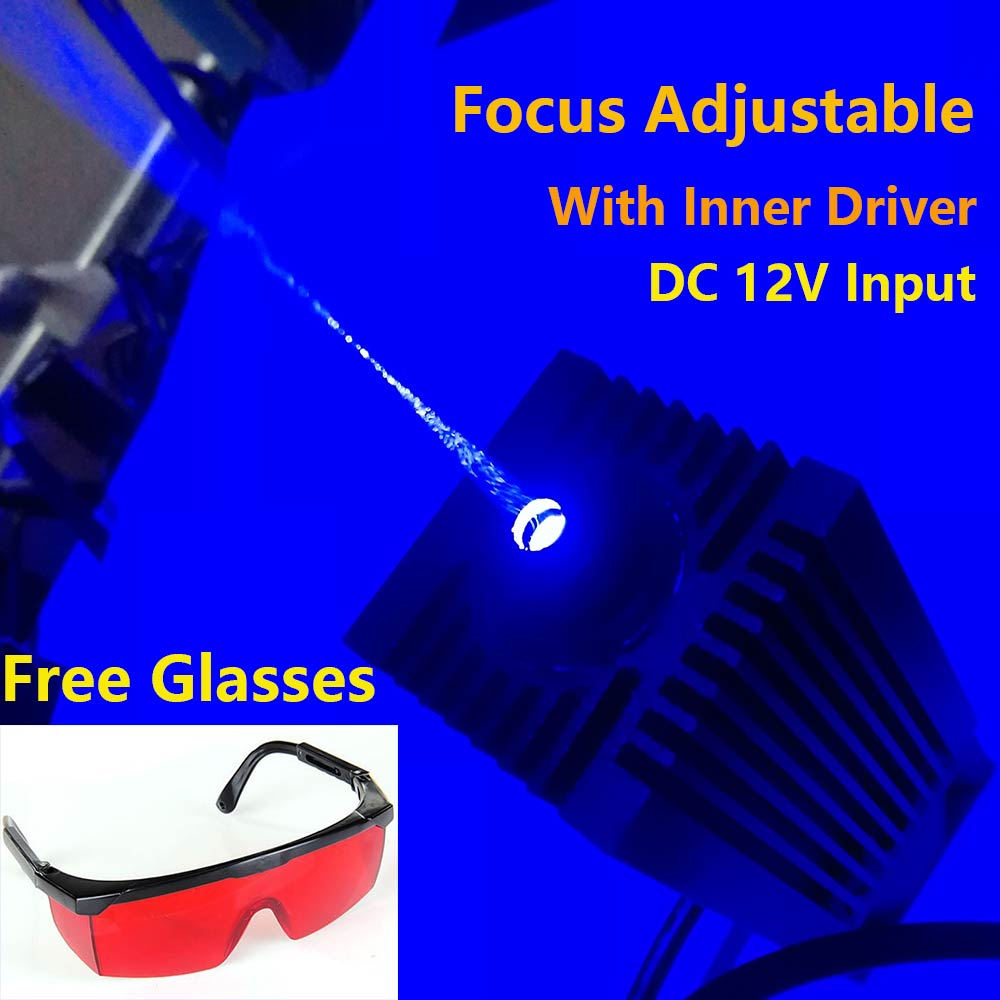 2.5W Blue Light Laser Module Diode for Laser CNC Engraver Machine Cutter High Power 450nm 445nm Focusable 2500mW Free Goggles