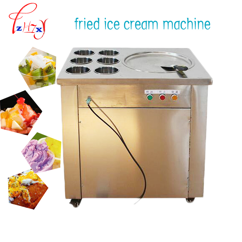 1 шт. CBJ 1 * 6 Большая сковорода машина для жареного мороженого 220 В машина для жарки мороженого из нержавеющей стали сковорода для мороженого