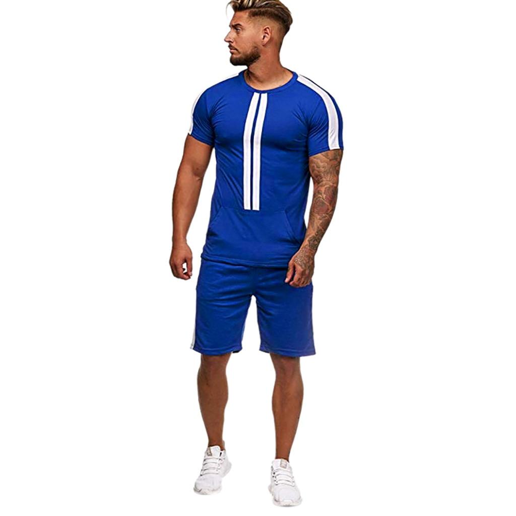 Casual Men's Set Stripe Stitching Set Summer Short Sleeve Sports Set Round Collar Polyester Men's Set 4