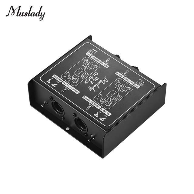 Muslady DI-2 Professional Dual-Channel Passive DI-Box Direct Injection  Audio Box Balanced & Unbalance Signal Converter