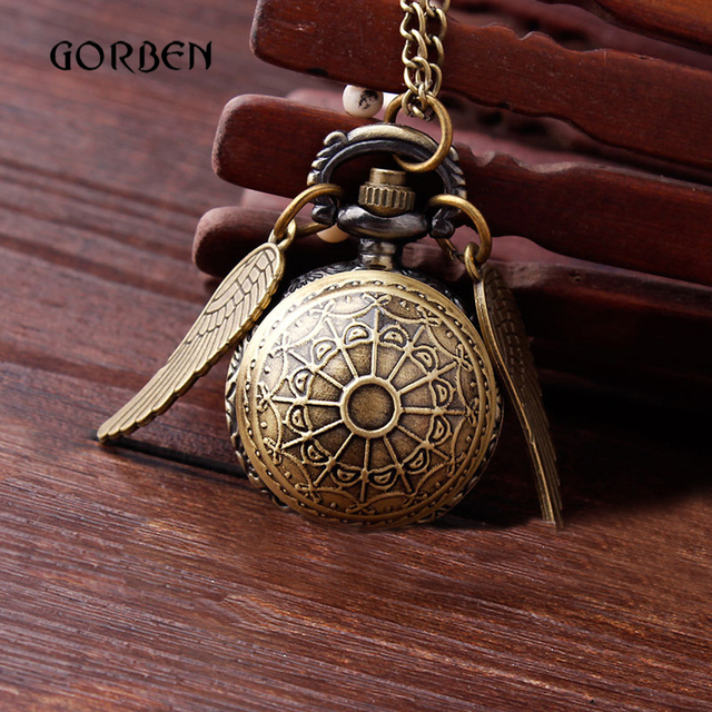 Retro Golden Snitch Design Pocket Watch Bronze Necklace Pendant Web Ball Metal F