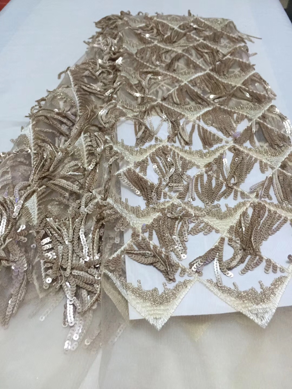 Free shipping (5yards/pc) champagne African tassel lace fabric with lots of sequins French lace fabric for party dress FLC22