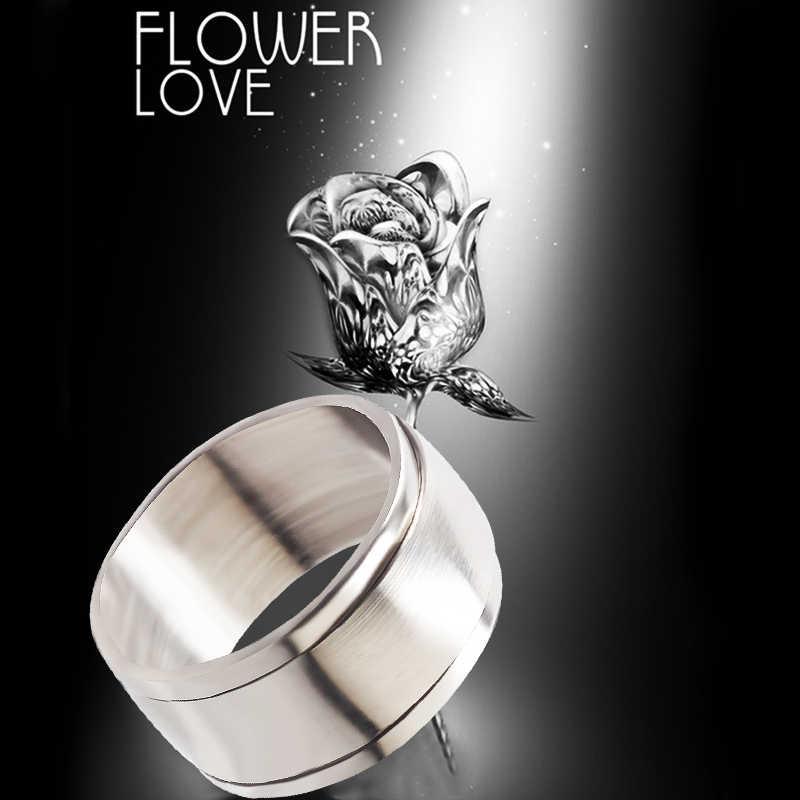 Qianbei 10mm 2019 การออกแบบใหม่งานแต่งงานหมุนแหวนสแตนเลสสตีลเงินหมุนแหวนสำหรับผู้ชายผู้หญิงเครื่องประดับ