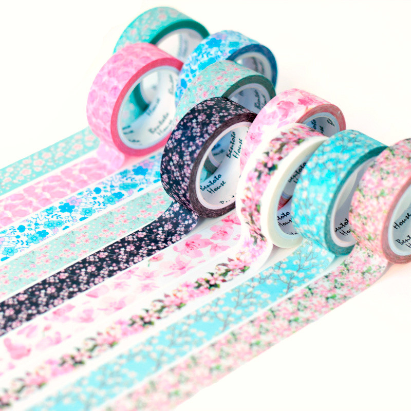 15 colori Romantico Sakura washi nastro decorativo FAI DA TE scrapbooking adesivo di mascheramento nastro adesivo etichetta adesiva nastro di cancelleria 15 MM * 7 M