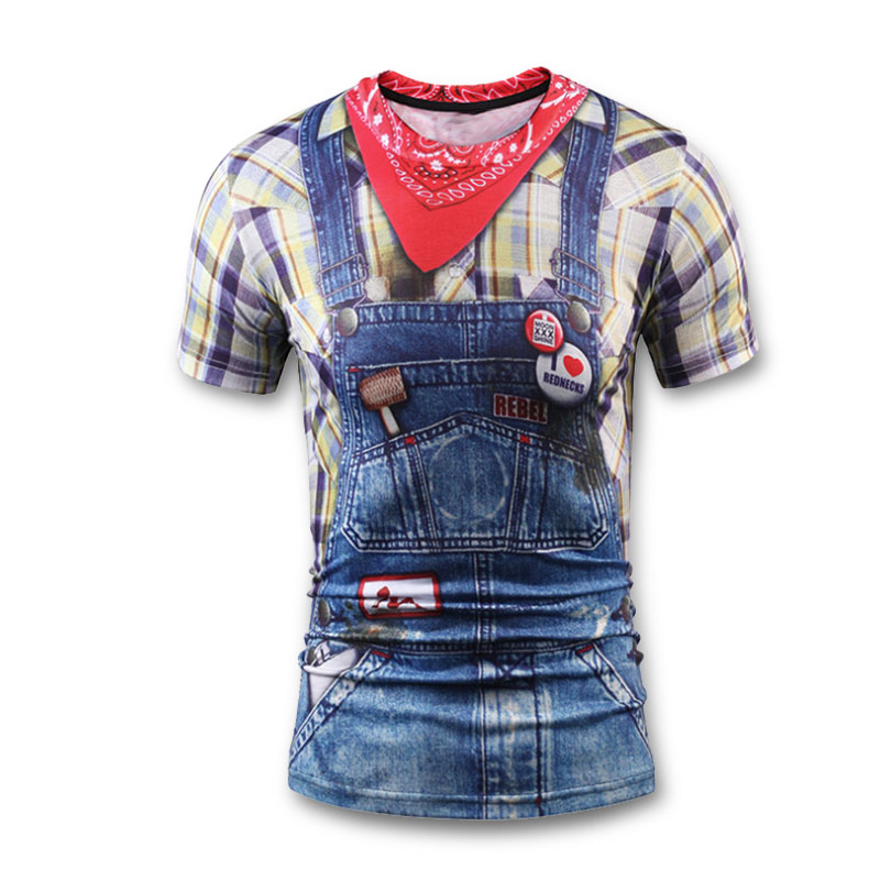 3D T Shirt Men Summer Funny T-Shirt Fashion Teens Boy Tops Tees Blue Cowboy/Jeans Fake Two Pieces Print Tshirt Brand Clothing