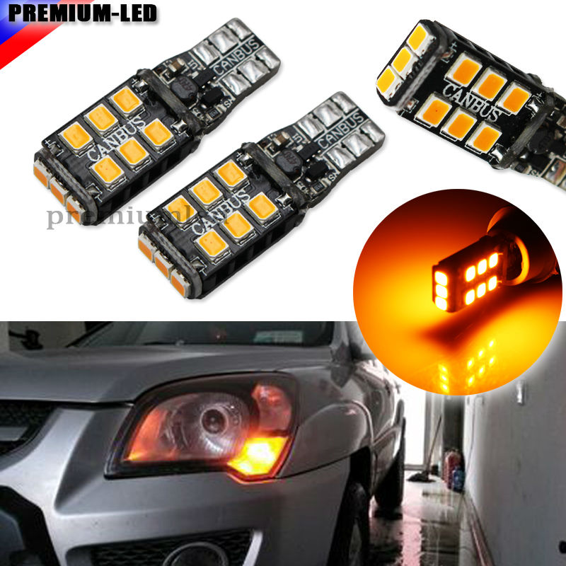 2pcs Amber Yellow CANBUS Error Free T10 W5W 194 168 W5W LED Bulbs For Euro Car Parking Position Lights 2 x t10 led w5w canbus car side parking light bulbs with projector lens for mercedes benz c250 c300 e350 e550 ml550 r320 r350