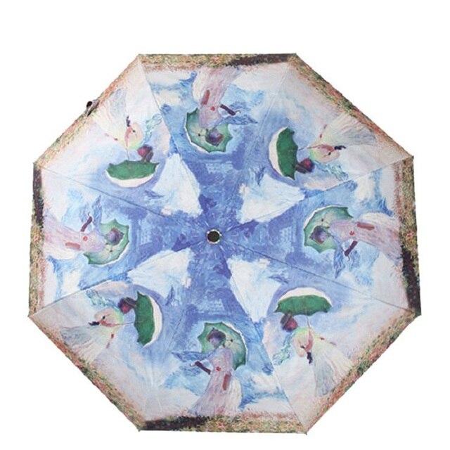 Us 14 35 40 Off Claude Monet Famous Oil Painting Umbrella Woman Rain Umbrellas Sliver Coating Paraguas Parasol In Umbrellas From Home Garden On