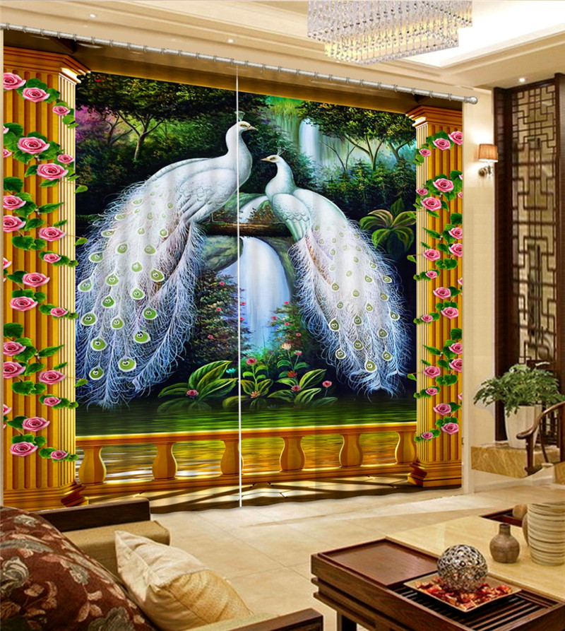 Animals Decor 3D Curtains Peacock Lake and Waterfall , landscape for Living Room Beddind Room Decor Blackout Curtain DrapeAnimals Decor 3D Curtains Peacock Lake and Waterfall , landscape for Living Room Beddind Room Decor Blackout Curtain Drape