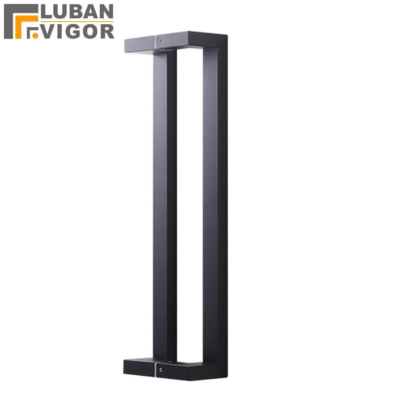 Noir mat givré, porte en bois/verre Double courbure poignée de tube carré, matériau épais en acier inoxydable, KTV, poignée de salle de bain