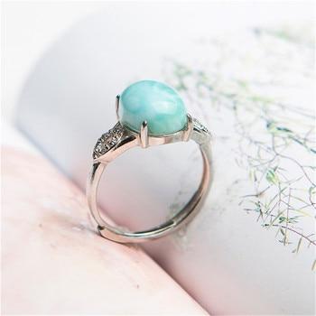 Genuine Natural Larimar Crystal Round Stone Beads Lady Stering Sliver Wedding Ajustable Ring 12*10mm
