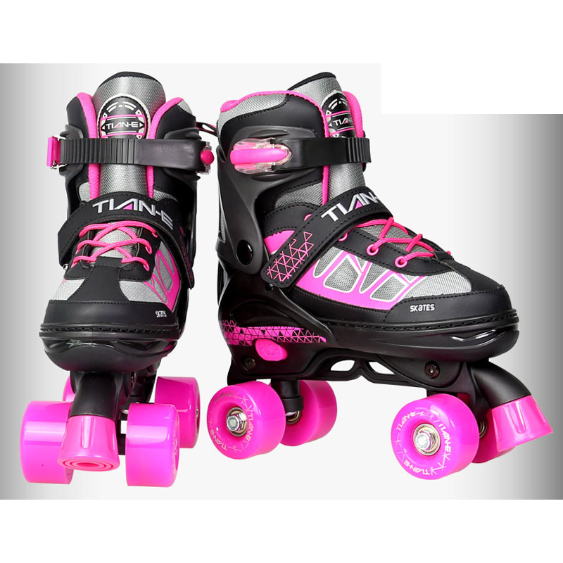 Adult Children Double Line Quad Parallel Skates Shoes Boots PU 4 Wheels Shockproof With Brake Stable