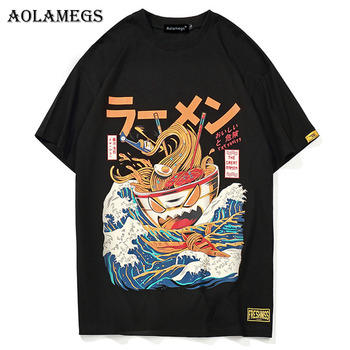 Aolamegs T Shirt Men Japanese Cartoon Printed Men's Tee Shirts O-neck T Shirt Cotton Fashion High Street Couple Tees Streetwear