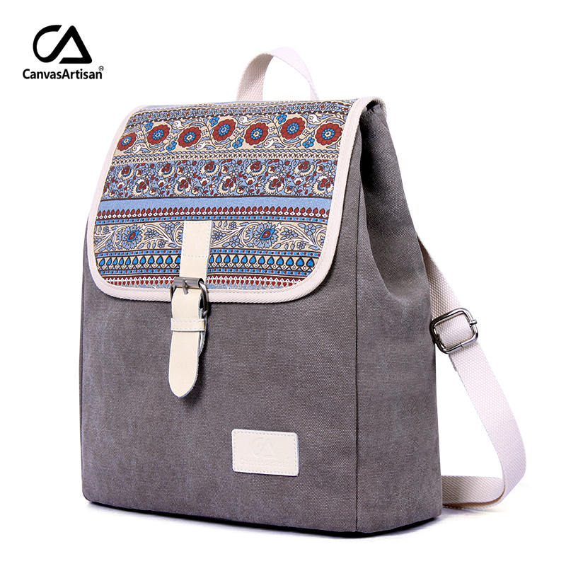 Canvasartisan New Women Backpack Canvas Bookbag Female Dual Purpose Shoulder Bag Daily Travel Backpacks Crossbody Bags