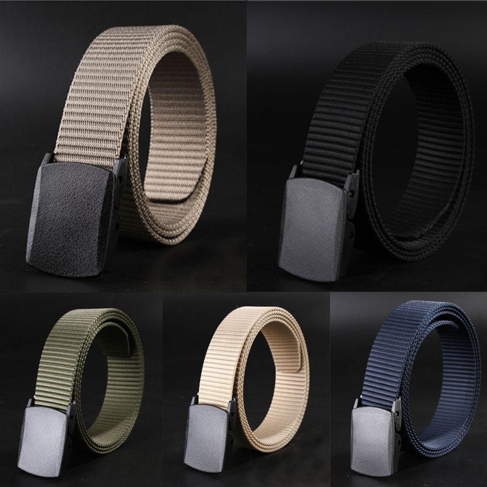Wild-Men-Canvas   Belt   Hypoallergenic Metal Plastic-Automatic-Buckle high quality solid Size Male Waistband