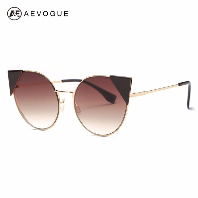 AEVOGUE Sunglasses Women Brand Designer Cat Eye Alloy Frame Oversize Vintage Superstar Sun Glasses With Box AE0493