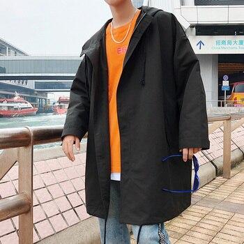 2018 new exquisite Korean version of men's autumn long windbreaker BF Harajuku style loose large size coat tide / black M-5XL