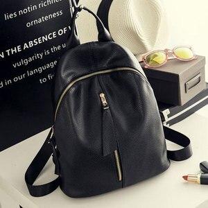 Image 1 - Женский рюкзак из ПУ кожи, Черный Повседневный дорожный рюкзак для девушек, 2020