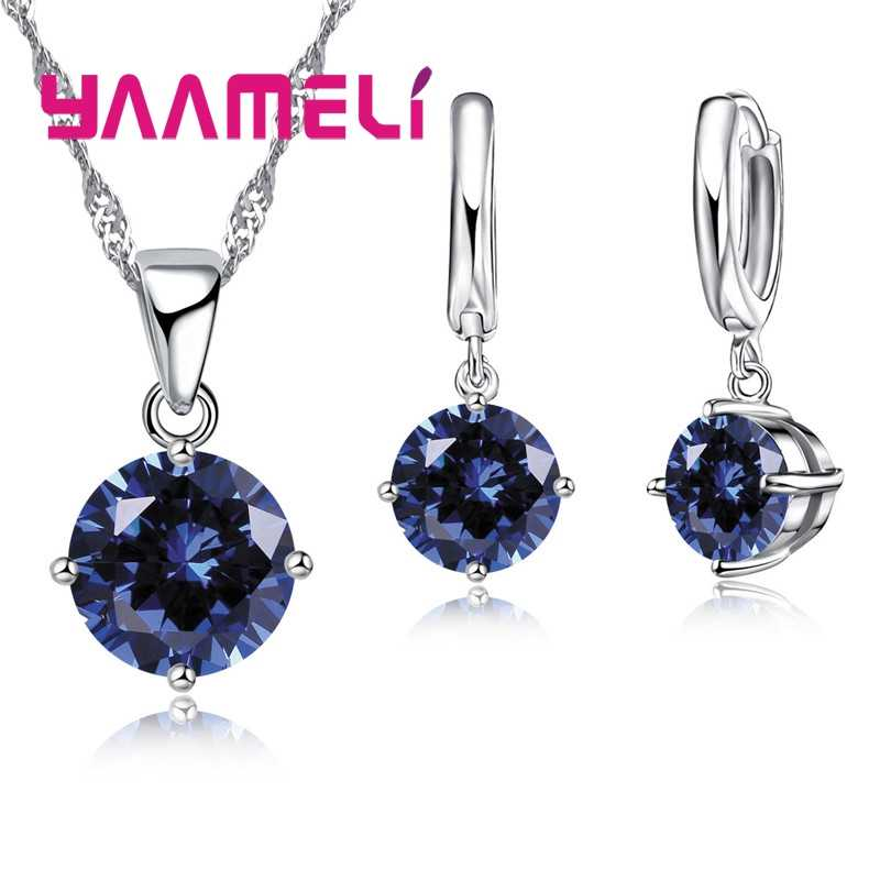 8 Color Women Wedding Jewelry Sets 925 Sterling Silver  4 Claw CZ Crystal Necklace Dangle Earrings Set For Engagement