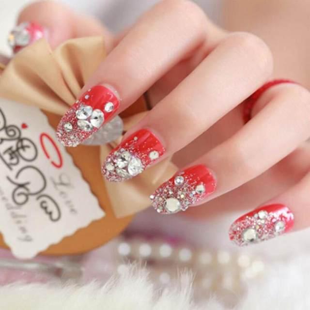 Tienda Online 24 piezas novia uñas postizas rojo clavo falso acabado ...