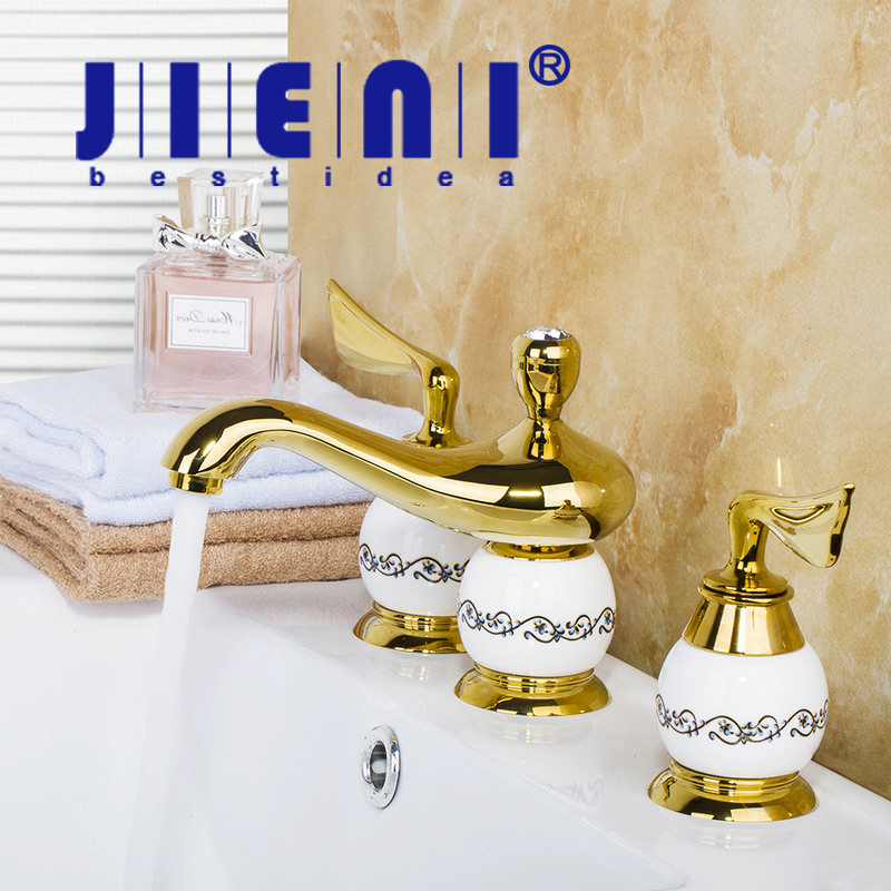 JIENI Luxury European Construction & Real Estate Deck Mounted Polished Golden 3PCS Set Bathtub Shower Basin Mixer Tap Faucet free shipping polished chrome finish new wall mounted waterfall bathroom bathtub handheld shower tap mixer faucet yt 5333