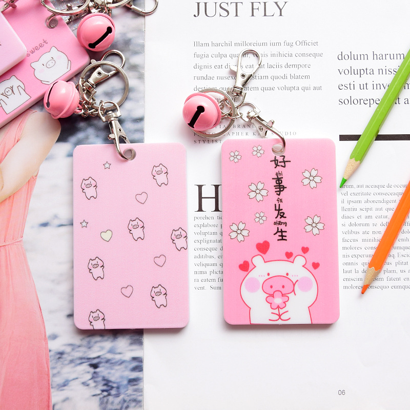 Coloffice 2019 New Cartoon Pig Series Plastic Cute Card Holder Children Bus Card Holder Girl Heart Student Campus Card Cover 1PC