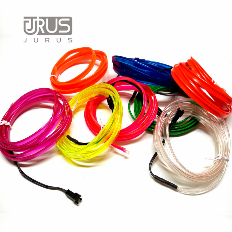 JURUS 1 Meter Flexible Neon Light 10 color Glow El Wire Rope Tape Cable Strip Lights Car With Cigarette Lighter Car-styling