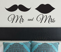 Hot Mr And Mrs Wedding Lips Quote Wall Art Sticker Decal DIY Home Decoration Decor Wall Mural Removable Bedroom Sticker