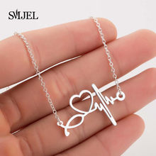 SMJEL Fashion Heart Clavicle Necklace Chain Dainty Collares Simple Heartbeat Pendants Collier Women Wedding Jewelry Girls Gifts(China)