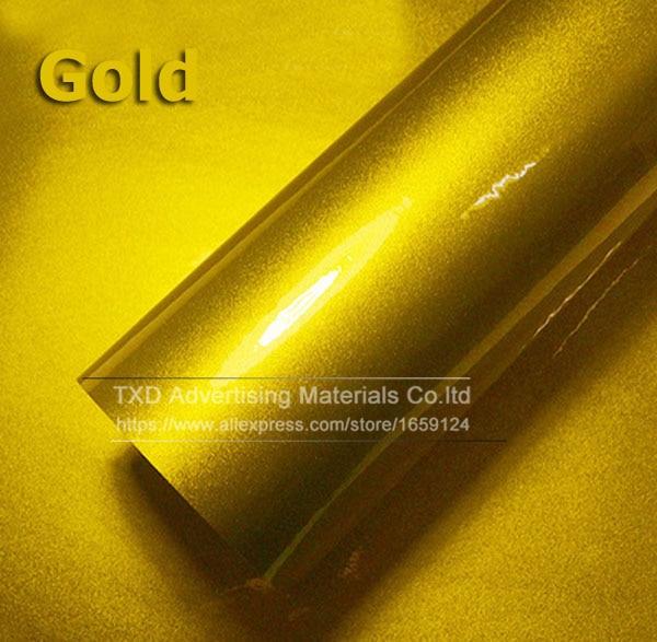 Премиум качество 10/20/30/40/50/60X152 см/лот красный металлик глянцевый блеск обертывание наклейка для автомобиля обертывание s глянцевые конфеты золото виниловая пленка - Название цвета: gold