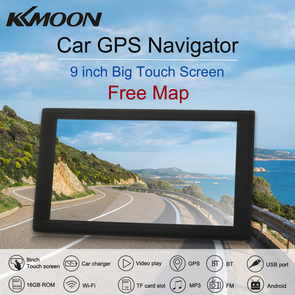KKmoon 9inch GPS Navigation Android Smart System 16GB Portable Car Stereo Audio Player Multimedia Entertainment  Maps navigator 7 inch 2 din bluetooth car stereo multimedia mp5 player gps navigation fm radio auto rear view camera steering wheel control