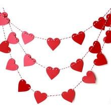 15pcs1set 5cm heart love letter nonwovens fabric flag party favor bell garland