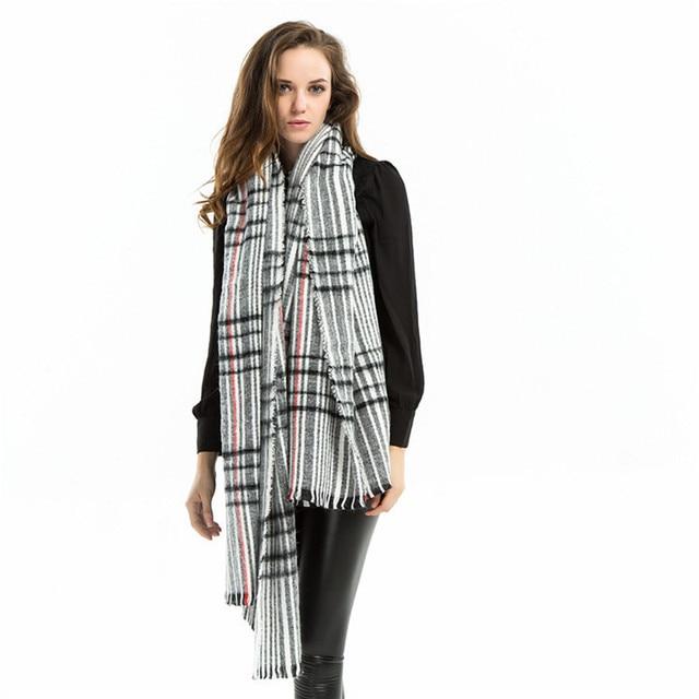 Striped Plaid Infinity Scarf Designer Cashmere Long Scarf Autumn Winter Cape Scarves Women High Fashion 2016 Brand