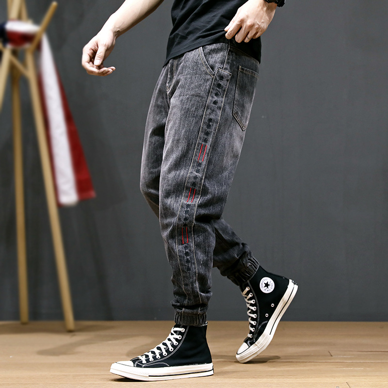 Japanese Style Fashion Men Jeans Gray Color Loose Fit Big Size 28-42 Slack Bottom Jogger Jeans Men Side Stripe Patch Harem Pants