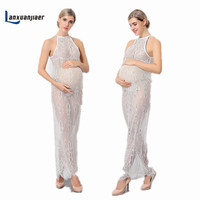 Lanxuanjiaer Pregnancy Photography Shoot Dress Maternity Photography Props Lace Perspective Voile Pregnant Photography Clothes